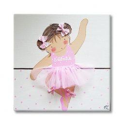 cuadro infantil bailarina con nombre personalizado y original
