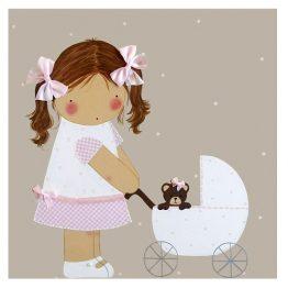 cuadros infantiles con nombre personalizados niña carrito blaucasa rosa