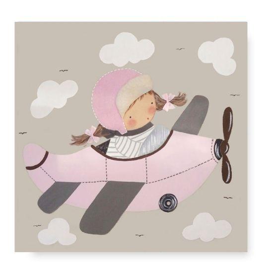 Cuadro Infantil con Nombre Avión Niña