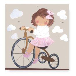 Cuadro Infantil niña bicicleta con nombre blaucasa