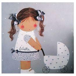 cuadros infantiles con nombre personalizados niña carrito blaucasa gris