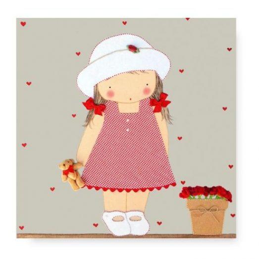 cuadros infantiles con nombre personalizados niña gorrito y maceta blaucasa