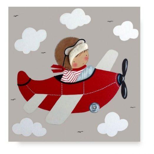 cuadros infantiles con nombre Avión Infantil Niño Originales y personalizados