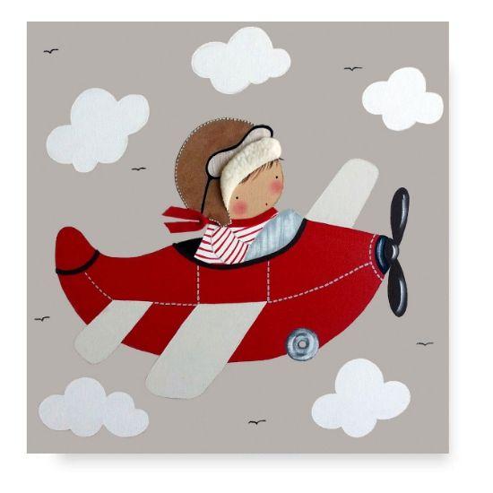 Cuadro Infantil con Nombre Avión Niño