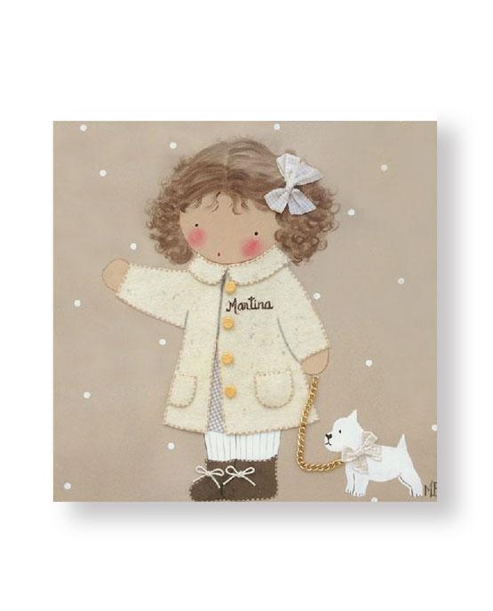 Cuadros Infantiles Originales Personalizados Niña con Perrito
