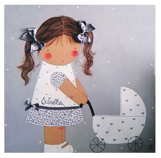 cuadros infantiles carrito personalizados con nombre artesanales lienzos decoracion regalos bebes ninos ninas blaucasa