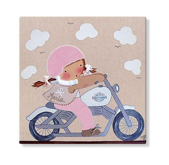 cuadros infantiles personalizados con nombre artesanales lienzos decoracion regalos bebes niños niñas blaucasa harley moto