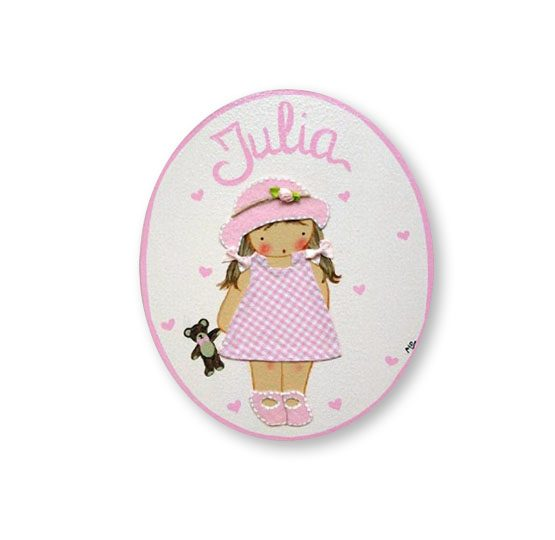 placas para puertas intantiles personalizadas con nombre bebe decorativa artesanal nina nino regalos originales blaucasa pamela gorrito osito