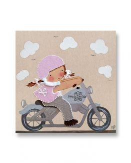 Cuadros infantiles Originales Personalizados Niña Motorista
