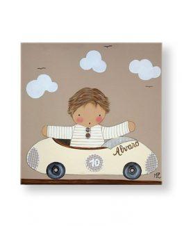 cuadros-infantiles-niño-coche