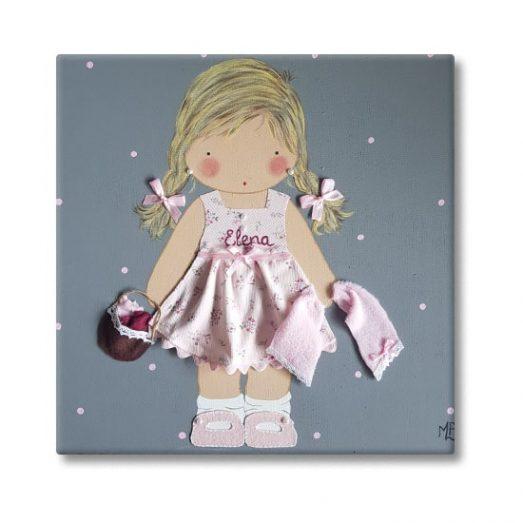 cuadro infantil niña con nombre personalizado y original cesto toallas