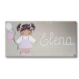 cuadro infantil niña con nombre personalizado y original globos