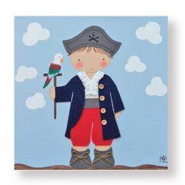 cuadros infantiles niño pirata loro pintura personalizado con nombre
