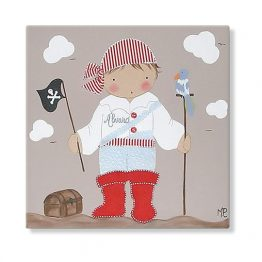 cuadro infantil niño pirata loro pintura personalizado con nombre bandera pañuelo