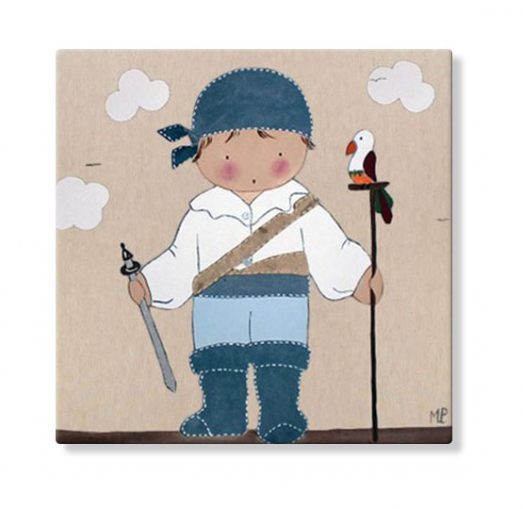cuadros infantiles niño pirata loro pintura personalizado con nombre espada