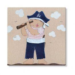 cuadros infantiles niño pirata loro pintura personalizado con nombre gorro telescopio