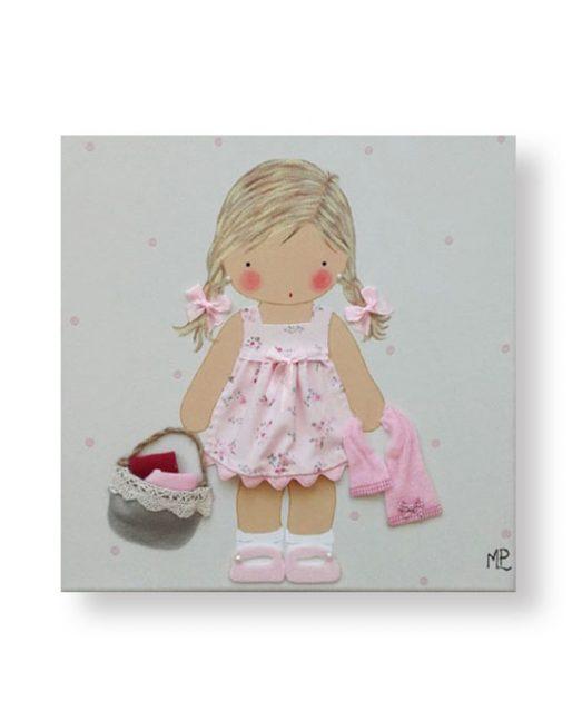 Cuadros Infantiles Originales Personalizados Niña cesto y toallas
