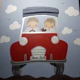 cuadros infantiles personalizados con nombre para hermanos, originales y artesanales lienzos decoracion regalos bebes niños niñas