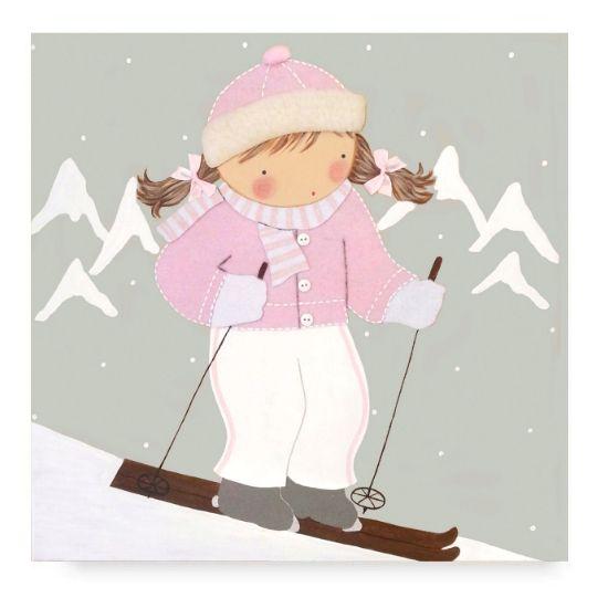 Cuadro Infantil con Nombre Niña Esquiadora