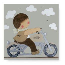 Cuadro Infantil con Nombre Niño Piloto en moto