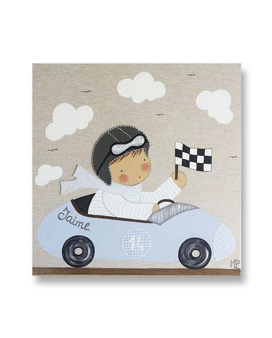 Cuadro Infantil con Nombre Niño Piloto en coche de carreras azul
