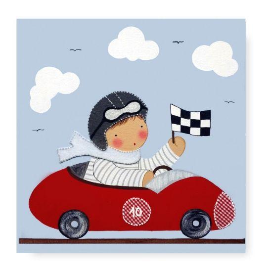 Cuadro Infantil con Nombre Niño Piloto en coche de carreras rojo