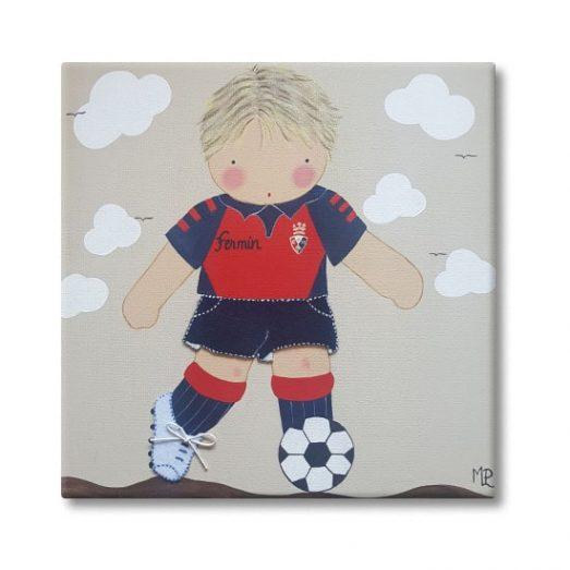 cuadro infantil niño futbol con nombre osasuna