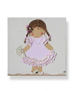 cuadros infantiles niña vestida de flamenca