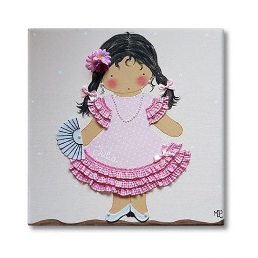 cuadro infantil niña flamenco sevillanas
