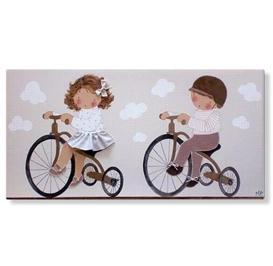 cuadros infantiles de hermanos originales con nombre en Bicicleta personalizados con nombre artesanales lienzos decoracion regalos bebes niños niñas