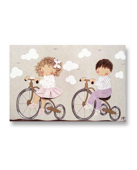 cuadros infantiles personalizados con nombre artesanales lienzos decoracion regalos bebes niños niñas blaucasa hermanos bicicleta