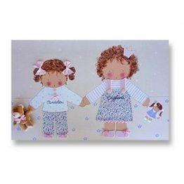 cuadros infantiles personalizados con nombre artesanales lienzos decoracion regalos bebes niños niñas blaucasa hermanas