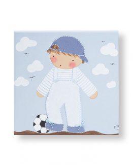 cuadro infantil niño jugando a fútbol