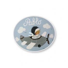 placas para puertas intantiles personalizadas con nombre bebe decorativa artesanal nina nino regalos originales avion