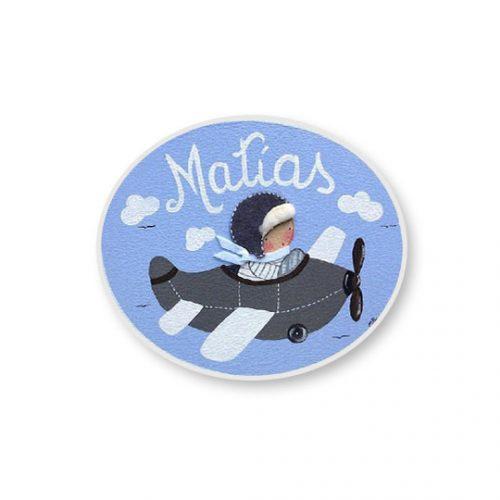 placas para puertas infantiles personalizadas con nombre bebe decorativa artesanal nina nino regalos originales avion