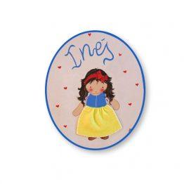 placas para puertas infantiles personalizadas con nombre bebe decorativa artesanal nina nino regalos originales niña blancanieves