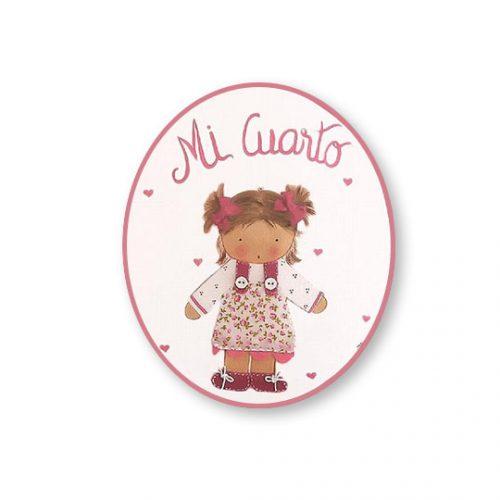 placas para puertas infantiles personalizadas con nombre bebe decorativa artesanal nina nino regalos originales niña coletas
