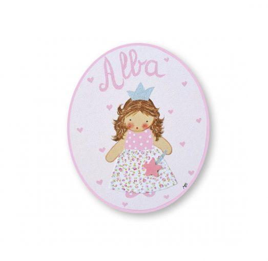 placas para puertas infantiles personalizadas con nombre bebe decorativa artesanal nina nino regalos originales hada