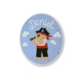 placas para puertas intantiles personalizadas con nombre bebe decorativa artesanal nina nino regalos originales pirata