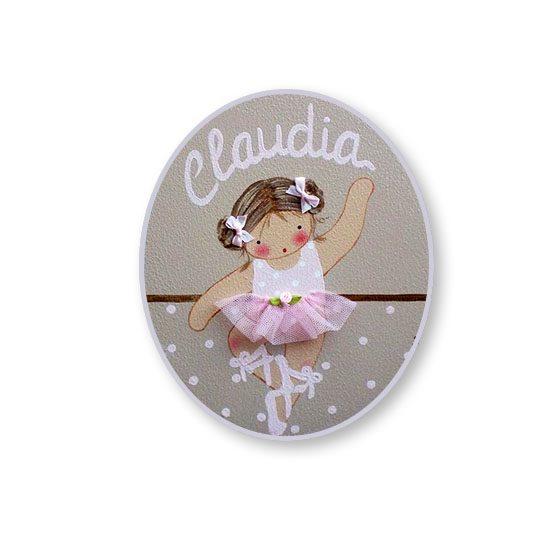 placas para puertas intantiles personalizadas con nombre bebe decorativa artesanal nina nino regalos originales bailarina ballet