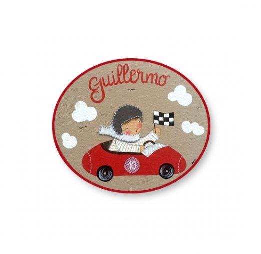 placas para puertas infantiles personalizadas con nombre bebe decorativa artesanal nina nino regalos originales coche de carreras piloto
