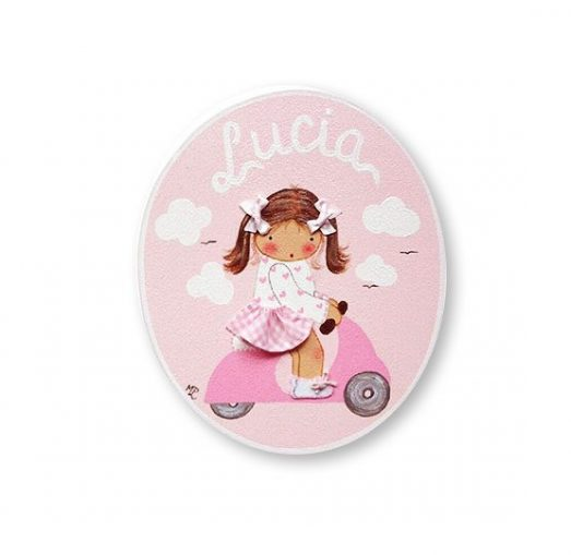 placas para puertas infantiles personalizadas con nombre bebe decorativa artesanal nina nino regalos originales vespa moto