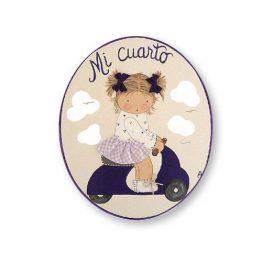 placas para puertas intantiles personalizadas con nombre bebe decorativa artesanal nina nino regalos originales vespa moto