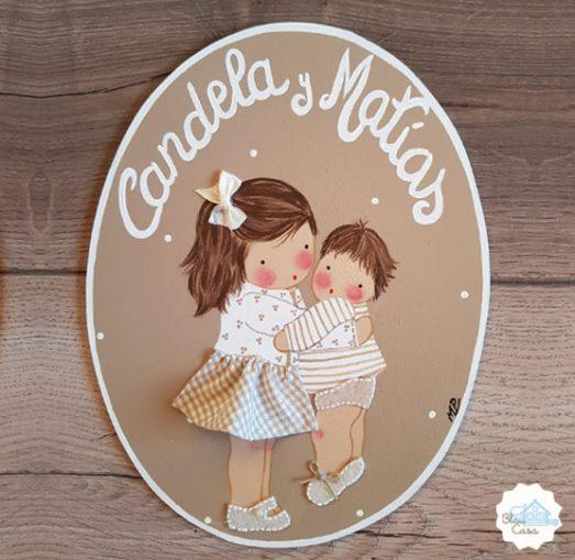 placas para puertas personalizadas con nombre de madera hermanos blaucasa