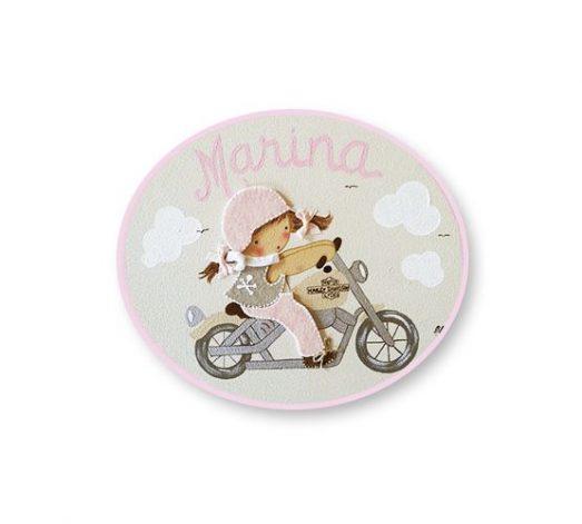 placas para puertas infantiles personalizadas con nombre bebe decorativa artesanal nina nino regalos originales harley moto