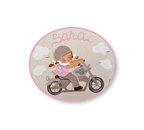 placas para puertas intantiles personalizadas con nombre bebe decorativa artesanal nina nino regalos originales harley moto
