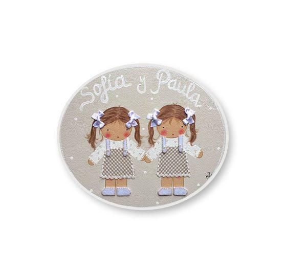 placas para puertas intantiles personalizadas con nombre bebe decorativa artesanal nina nino regalos originales hermanos juguetes