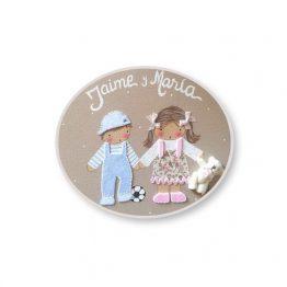 placas para puertas infantiles personalizadas con nombre bebe decorativa artesanal nina nino regalos originales hermanos juguetes