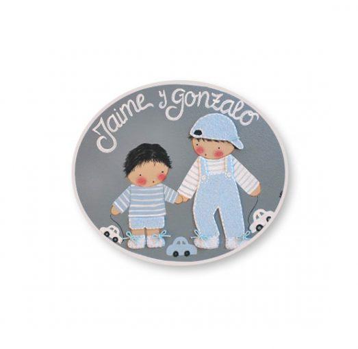 placas para puertas infantiles personalizadas con nombre bebe decorativa artesanal nina nino regalos originales hermano juguetes