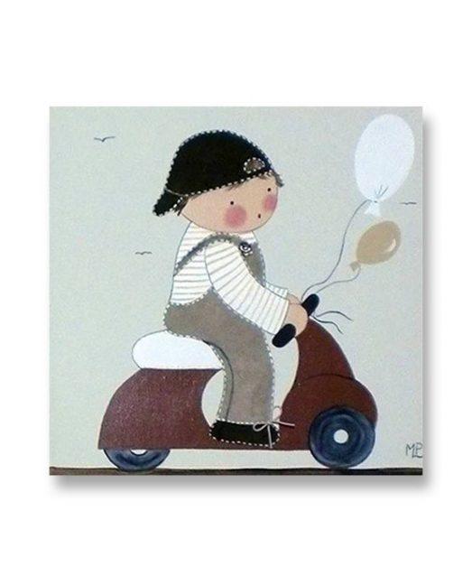 Cuadros Infantiles Originales Personalizados Niño Moto